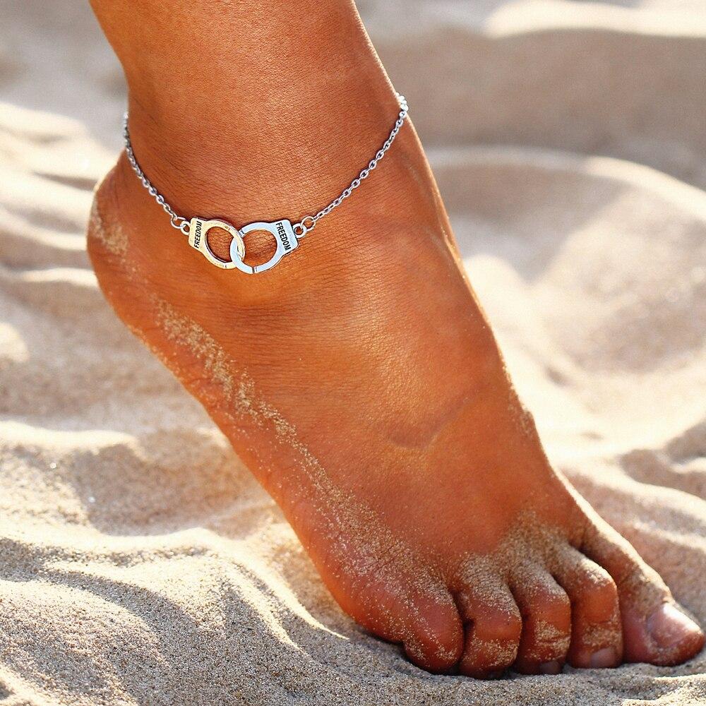 17KM couleur argent mode bricolage bracelets de cheville pour femmes fille bohème amitié Bracelet fait main pieds nus fête bijoux cadeau 1
