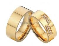 2ชิ้นราคาถูกczหินสีทองบริสุทธิ์titaniumหมั้นแหวนแต่งงานวงชุดสำหรับผู้ชายและผู้หญิ