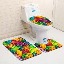 Honlaker 3 шт./компл. печать в формате HD и окрашивание цветов ванная комната туалет Противоскользящий коврик мягкий Впитывающий Коврик для ванны ковер