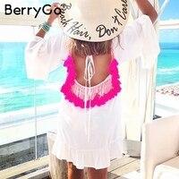 BerryGo Sexy Backless Tassel Summer Dress Women Long Sleeve Ruffle Chiffon Dress Loose White Smock Beach