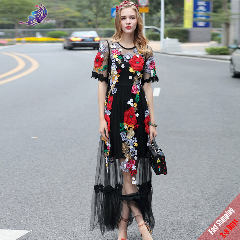 High Quality Newest 2017 Runway Maxi Dress Women's Half Sleeve Voile Lace Floral Embroidery Appliques Black Long Dress Free DHL