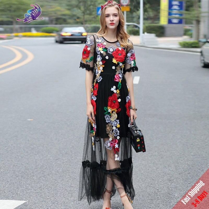 Vysoce kvalitní nejnovější nová dráha Maxi šaty Dámské polo rukávy Voile krajka Květinové výšivky Appliques Černé dlouhé šaty 2019