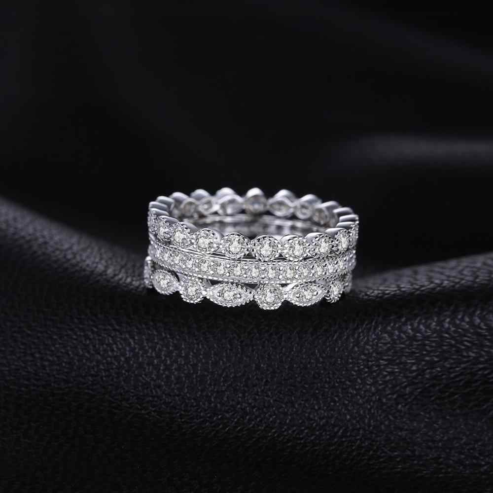 Jpalace ชุดแหวนแต่งงาน 925 เงินสเตอร์ลิงแหวน Eternity แหวนชุดเงิน 925