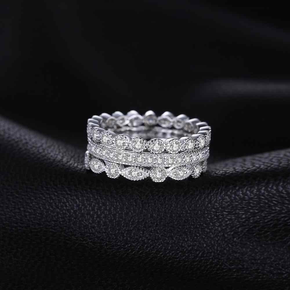Jpalace conjuntos de anéis de casamento 925 anéis de prata esterlina para o aniversário feminino eternidade empilhável anel de banda conjunto de prata 925 jóias