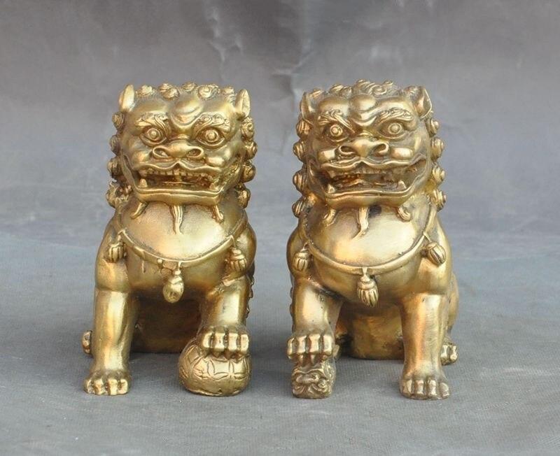 Lucky Chinese Brass fengshui Evil Guardian Door Foo dog Lion Beast Statue Pair halloween