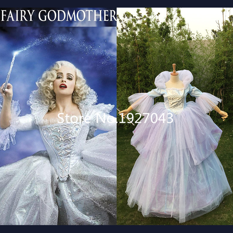 Free shipping For Adult Cinderella God Mother Dress and Prince Charming Costume free Magic wand
