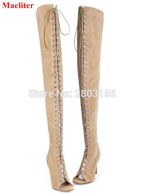 Newest Suede lace up thigh high boots sexy open toe cut-outs strappy gladiator sandal boots summer over the knee boots sexy black high heels gladiator shoes woman peep toe lace up thigh high boots summer cut outs feminina bota over the knee sandal