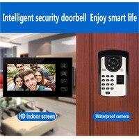 2,4 г цифровые камеры видео телефон двери с 7 дюймовым экраном домашней безопасности системы Поддержка отпечатков пальцев пароль разблокиро