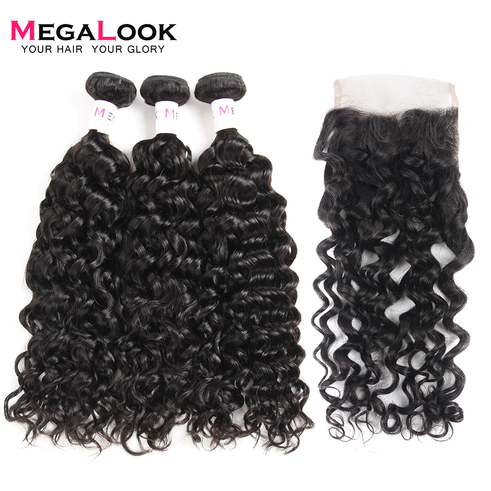 Megalook Water Wave Bundles with Lace Closure Indian 100 Remy Human Hair Bundles with Closure