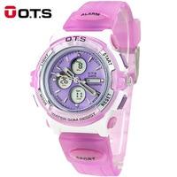 OTS Brand Children Multifunction LED Digital Waterproof Alarm Watch Kids Silicone Watches Boy girls Sports Wristwatch for gift