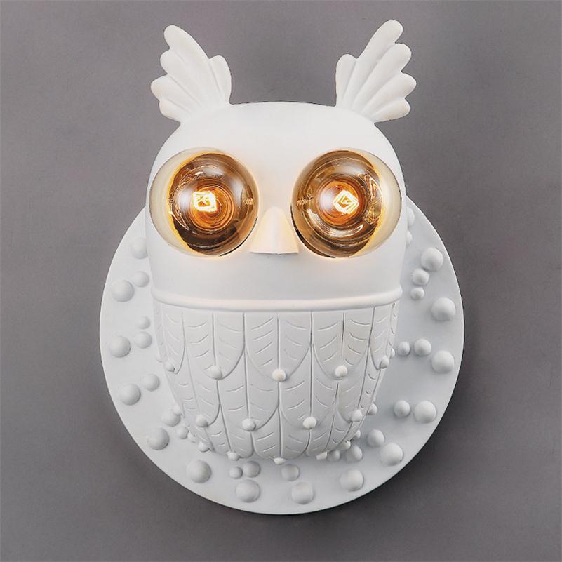 Severské moderní nástěnné svítidlo sova Creative nástěnná svítidla E27 Obývací pokoj Ložnice Wall Sconce Vintage ruční pryskyřice Cartoon Wall Lampada