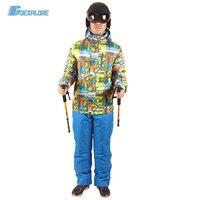 Goexplore сноуборд куртка и ремни Штаны мужской утолщаются теплый Водонепроницаемый Комплекты для девочек Спортивная одежда теплый спортивный