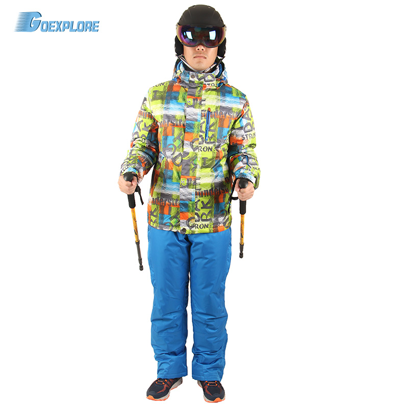 Goexplore Snowboard jacket and straps pants male Thicken Warm Waterproof Clothing Sets Sportswear Warm Sport Winter Suit MenGoexplore Snowboard jacket and straps pants male Thicken Warm Waterproof Clothing Sets Sportswear Warm Sport Winter Suit Men