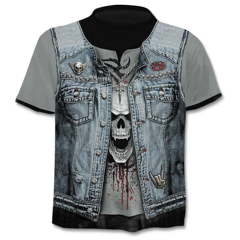 Новая мужская футболка череп футболка 3D пистолет воин нож Харадзюку принт футболка 2019 Лето o-образным вырезом в стиле готика, панк, Винтаж Рокерская футболка