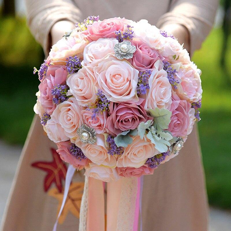 Fleur De Simulation 22 CM couleur mixte fleurs De Mariage artificielles Bouquets De mariée Bouquet De mariée broche De Mariage Bouquets De Mariage