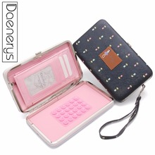 цена на Daenerys Ladies Wallet With Cell Phone Pocket Leather Long Printing Women Purse With Flower Hasp Clutch Card Holder Gift