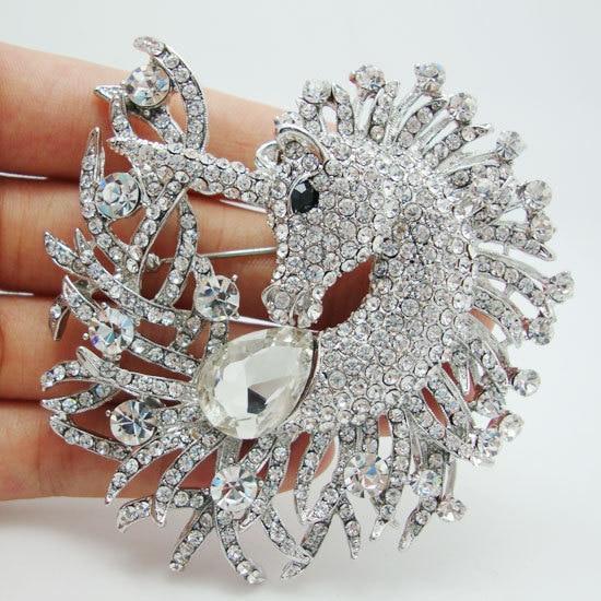 סוס ייחודי בעלי החיים נקה קריסטל ריינסטון סיכת פין תליון סוס חד קרן יהלומים מלאכותיים קלאסיים תכשיטים מעוצבים