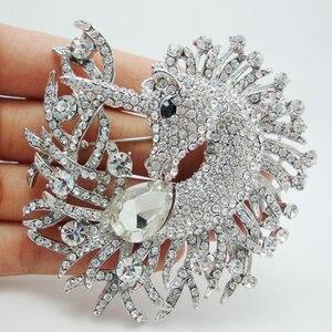 Image 1 - Unique Horse Animal Clear Crystal Rhinestone Brooch Pin Pendant Classic  Rhinestone Unicorn Horse Decorated Jewelry
