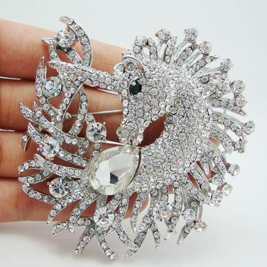 Unique Horse Animal Clear Crystal Rhinestone Brooch Pin Pendant Classic  Rhinestone Unicorn Horse Decorated Jewelry