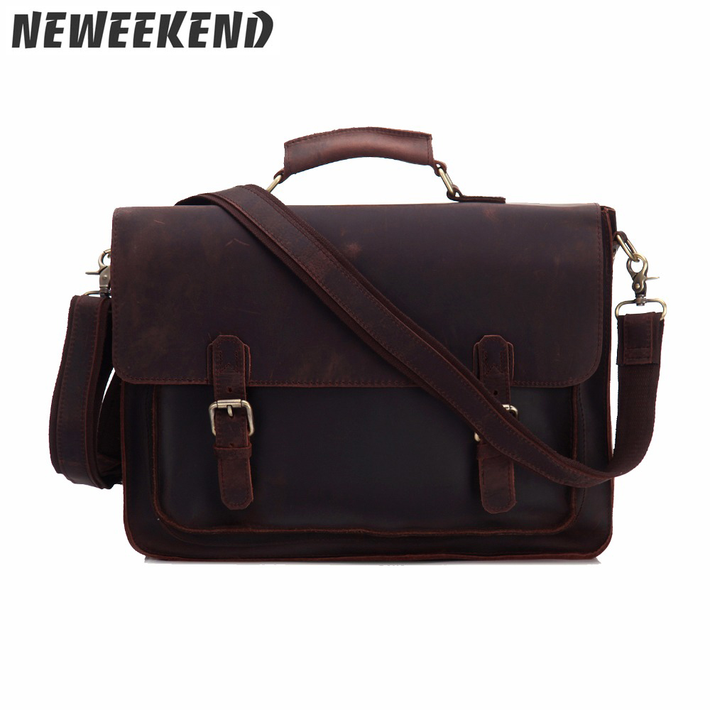 Genuine Leather Crazy Horse Men s Briefcase Crossbody Office Business Handbag Sling Bag Portfolio Laptop Bag