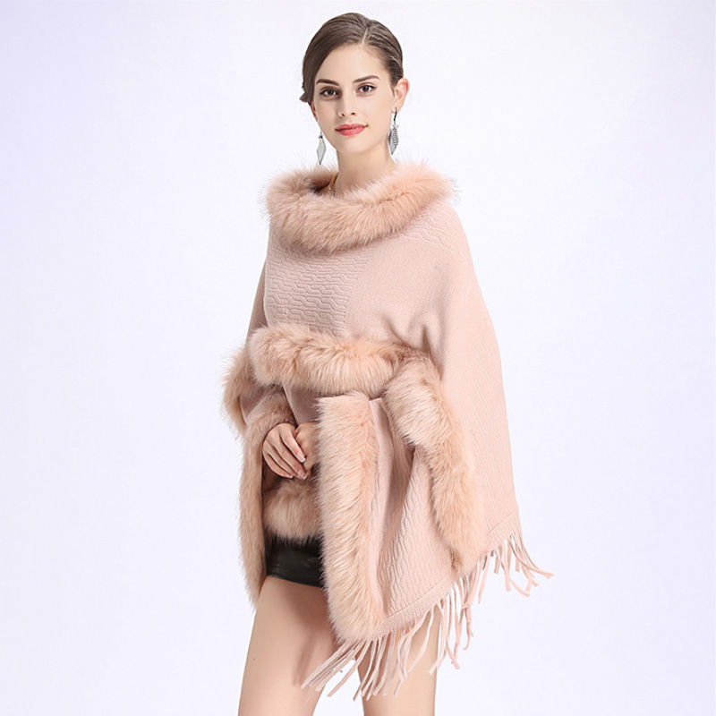 ZDFURS*Autumn Winter New Fur Round Collar Cashmere Fox Fur Poncho Shawl Cape Women Tassels Pullover Cloak Coat Pashmina