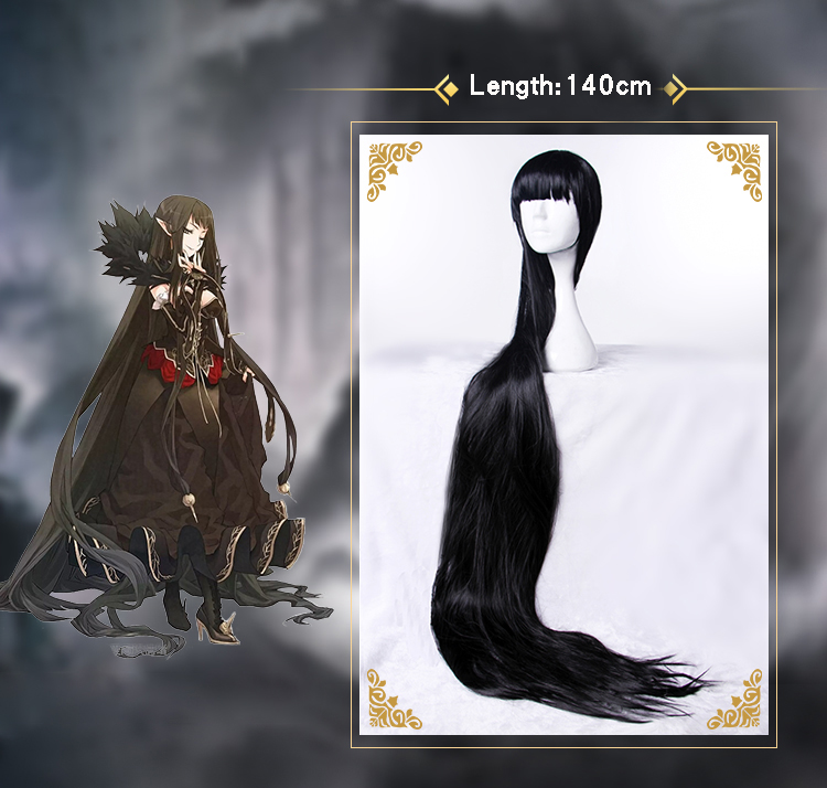 Fate Apocrypha Semiramis Cosplay Headwear Queen Sammu-ramat Halloween Carnival Black Long Straight Cosplay Synthetic Hair