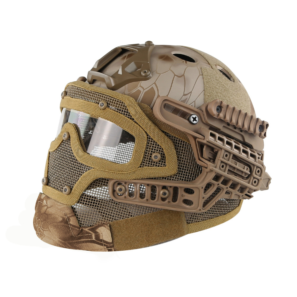 Desert Kryptek Sand PJ Type FAST Molle Tactical Helmet Combined With Full Mask and Goggles for Airsoft Paintball CS Hunting kryptek green pj type fast molle tactical helmet combined with full mask and goggles for airsoft paintball cs hunting
