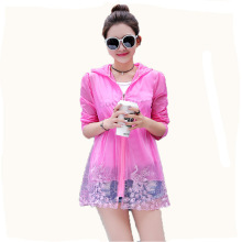 цена на Summer Women Ultra light Anti-UV blue Coat lace Jacket Outdoor Sun Protective beach sunscreen Jacket Sun-proof Clothing Coat XL
