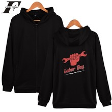 Labour day hoodies for Men Fashion zipper hooded sweatshirts basic printed outerwear hoodies Labour day