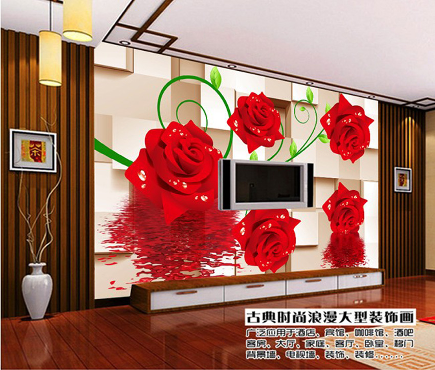 romantic red rose dancing on brick wallpaper 3d wall mural rolls hotel livingroom cafe office bedroom - Brick Hotel Decoration