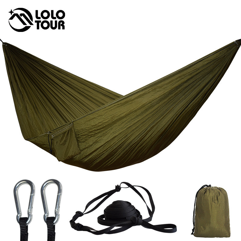 24 Color 2 People Portable Parachute Hammock Camping Survival Garden Flyknit Hunting Leisure Hamac Travel Double Person Hamak(China)