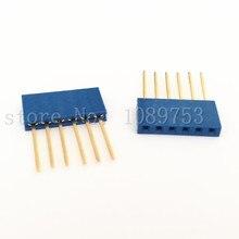 50pcs Blue 2.54mm 6P Stackable Long Legs Female Header For Arduino Shield