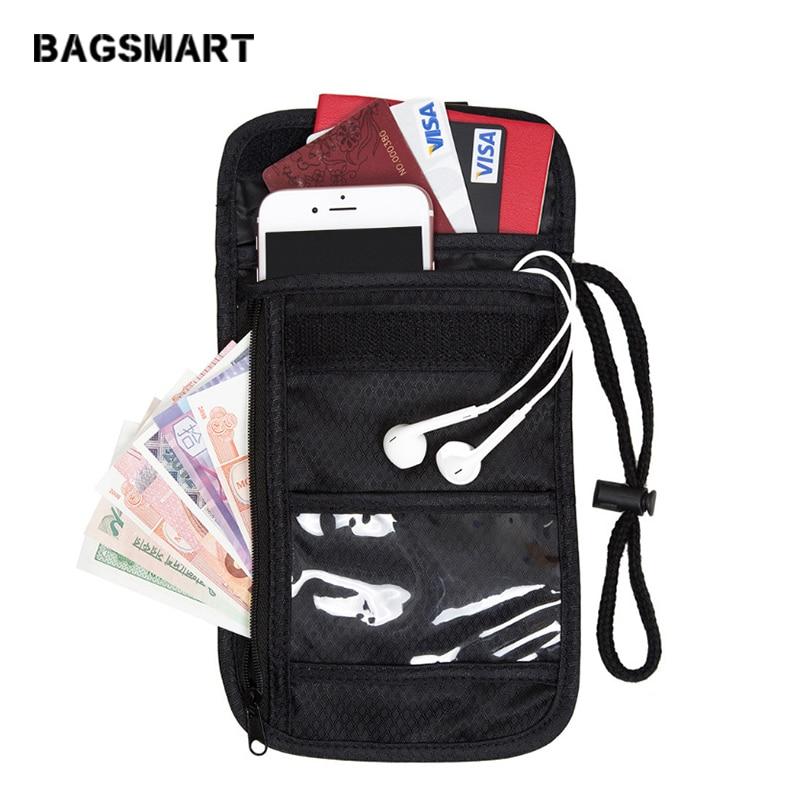 BAGSMART Justerbar Rem Travel Pass Cover Over Sikkerhed Black Neck Wallet Pocket Vault Rejse Neck Pouch For ID Card