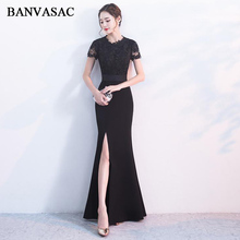 BANVASAC 2018 O Neck Lace Split Mermaid Long Evening Dresses Party Embroidery Cut Out Short Sleeve Sash Prom Gowns