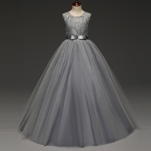 918ab25a31 Tiul koronki kwiat dziewczyny suknie księżniczka suknia Tea długość dziewczyna  sukienka dzieci ubrania 6-14