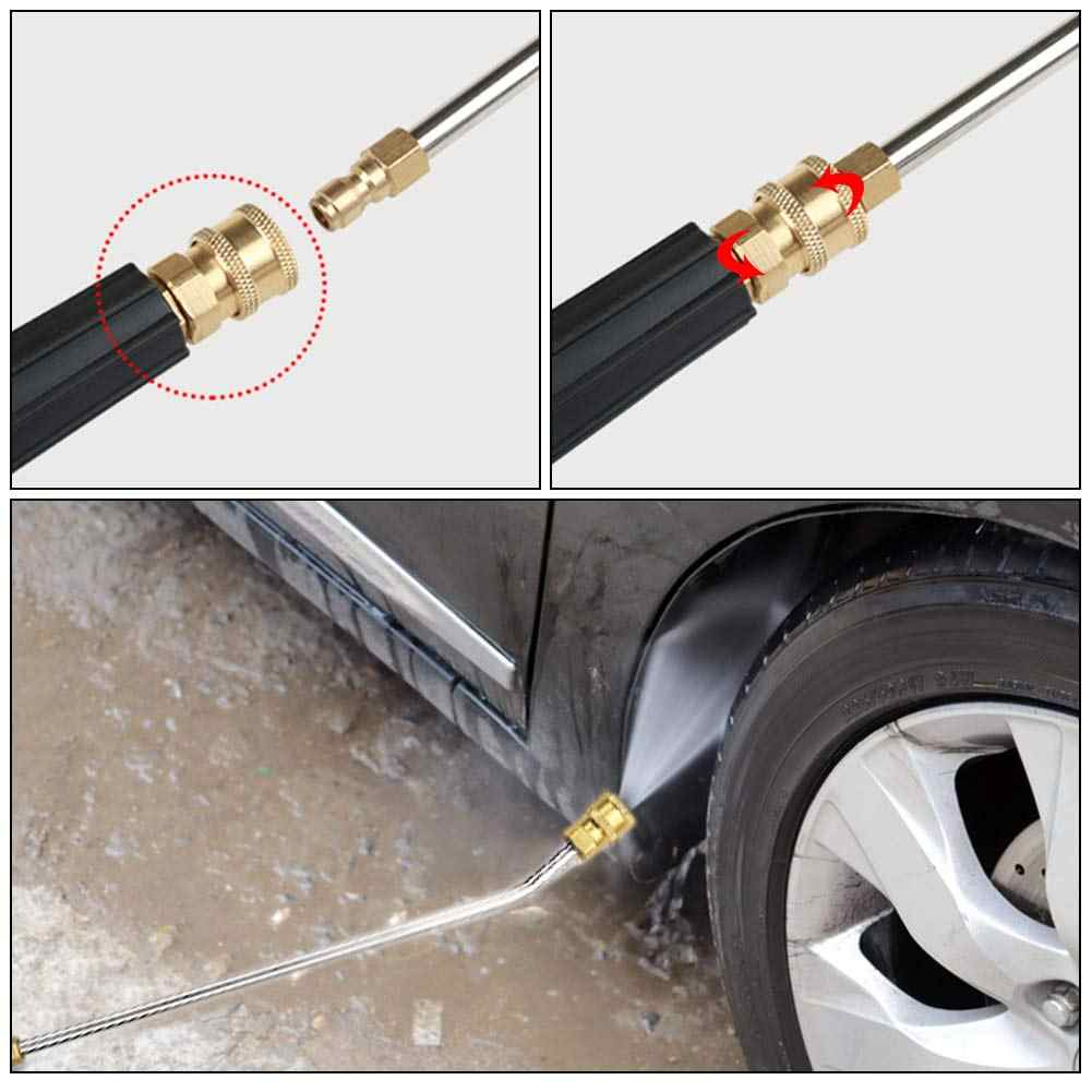 Car Washer Metal Jet Water Spray Lance Extension Wand Nozzle for Karcher K Series Powerful Pressure Washer with 5 Quick Nozzles