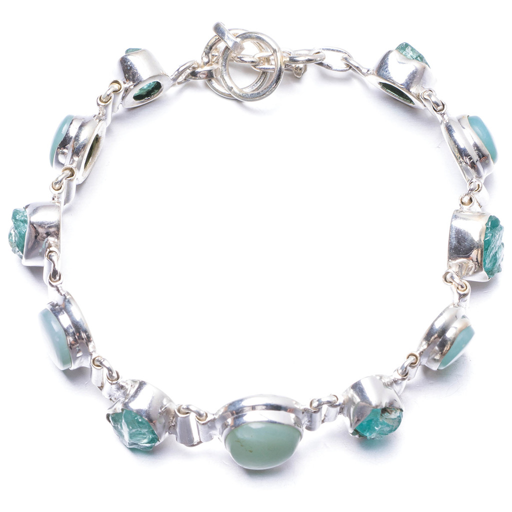 Natural Caribbean Larimar and Apatite Handmade Unique 925 Sterling Silver Bracelet 6 3/4-7 1/4 Y2031