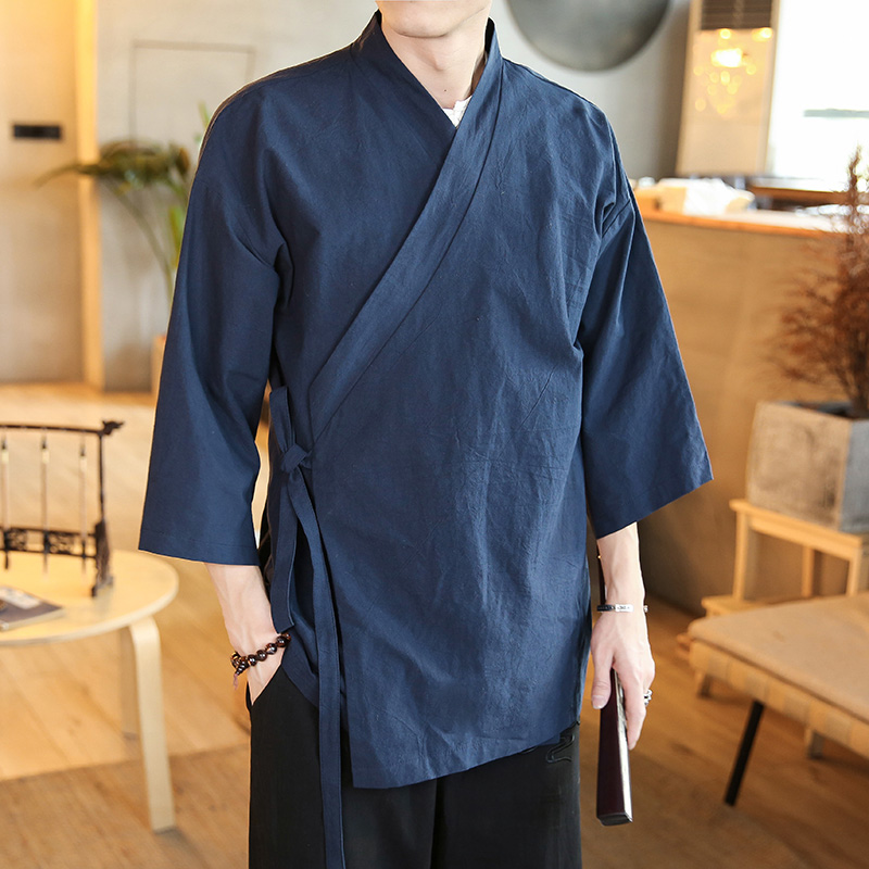 Рубашки в восточном стиле для мужчин hanfu Китайский стиль Мужская рубашка с хлопком уличная Мужская рубашка Повседневная белая рубашка мужс...
