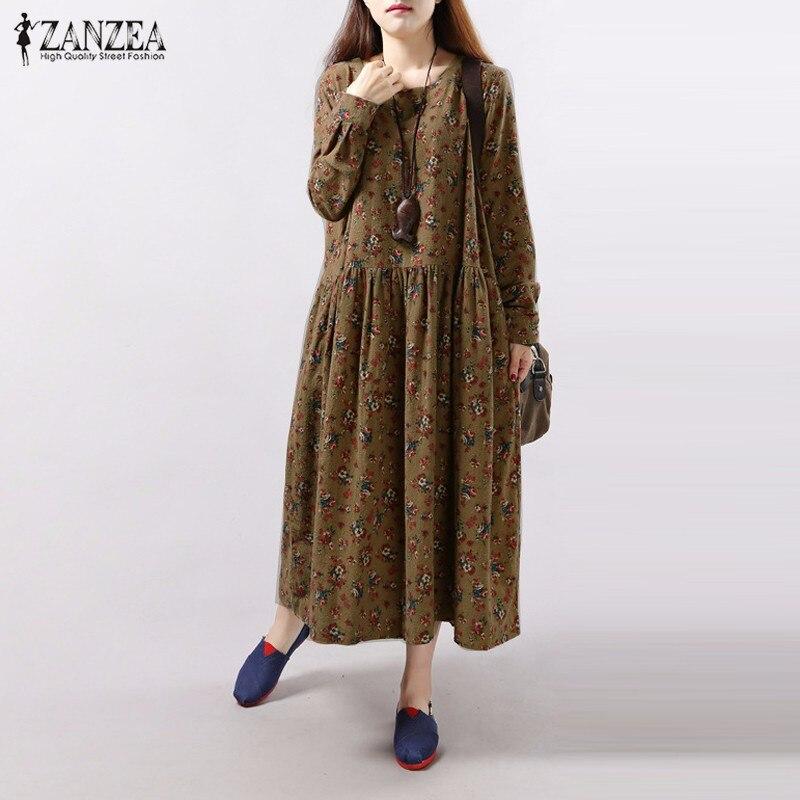 ZANZEA Women 2016 Autumn Vintage Floral Print Dress Long Sleeve O Neck Pockets Loose Casual Mid-calf Dresses Vestidos Plus Size