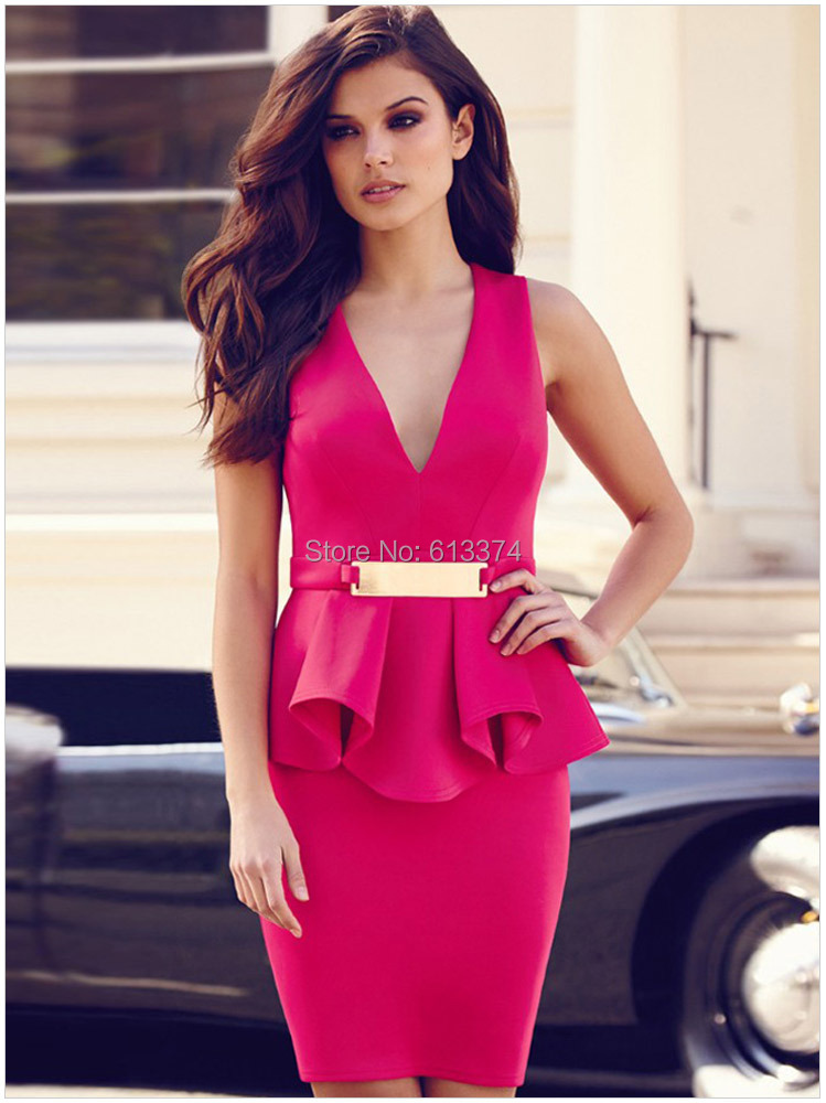 Free Shipping New 2014 Summer Casual Bodycon Party Dress V Neck ...