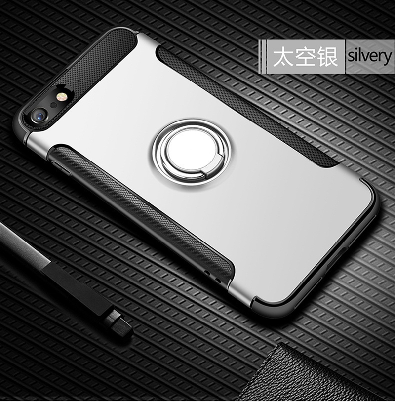 Silicone Edge Hard Back Standing Cover Case With Magnetic Ring for iPhone Models 15