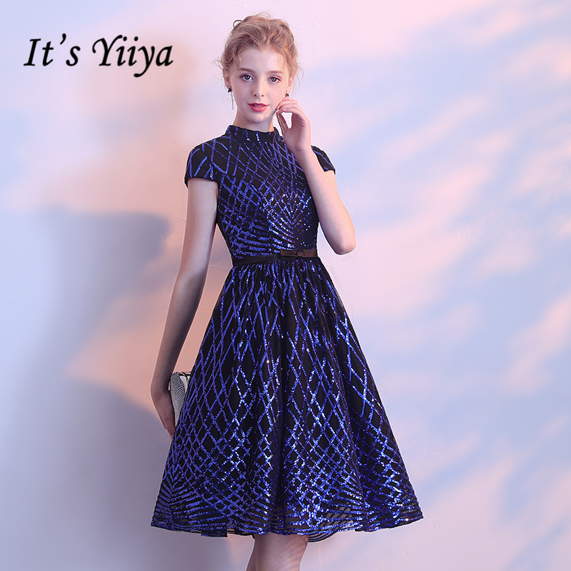 It's YiiYa 2018 Hot Sales Short Sleeve Royal blue Fashion Designer Lace Elegant Cocktail Gowns Cocktail Dress LX370
