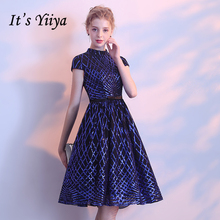 Its YiiYa 2018 Hot Sales Short Sleeve Royal blue Fashion Designer Lace Elegant Cocktail Gowns Dress LX370