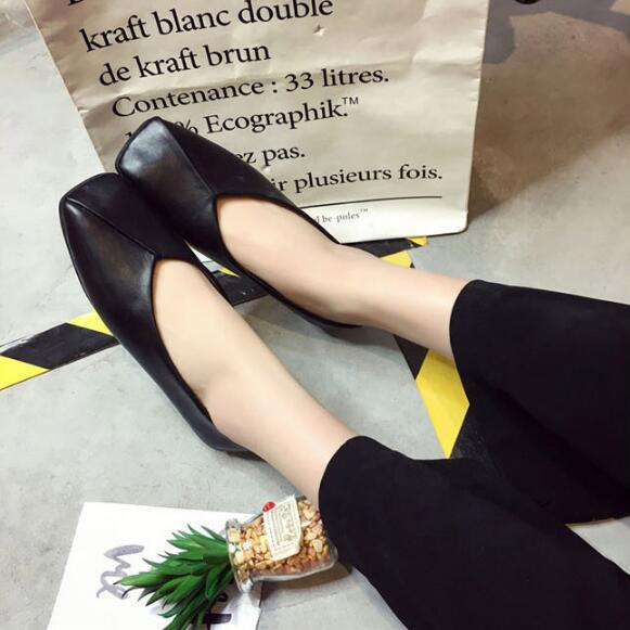 2017 Fashion Women Ballet Flats Spring Autumn Square Toe Metal Button Shallow Slip On Woman Flats Shoes Ladies Casual Loafers spring autumn solid metal decoration flats shoes fashion women flock pointed toe buckle strap ballet flats size 35 40 k257