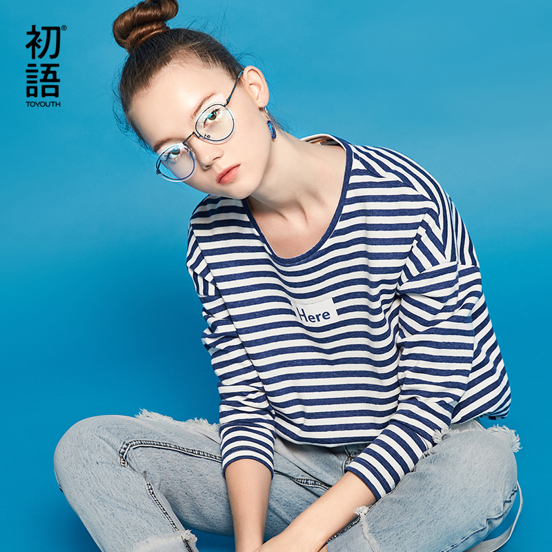Toyouth Fashion Letter Printed Long Sleeve T Shirt Women 2019 Autumn Tops Striped Base Tees Female Casual Round Neck T-Shirts