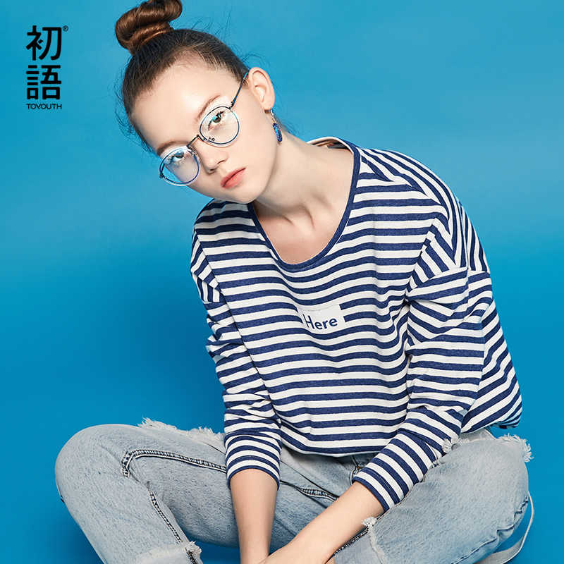 Toyouth אופנה מכתב מודפס ארוך שרוול T חולצה נשים 2019 סתיו חולצות פסים בסיס Tees נקבה מקרית עגול צוואר חולצות