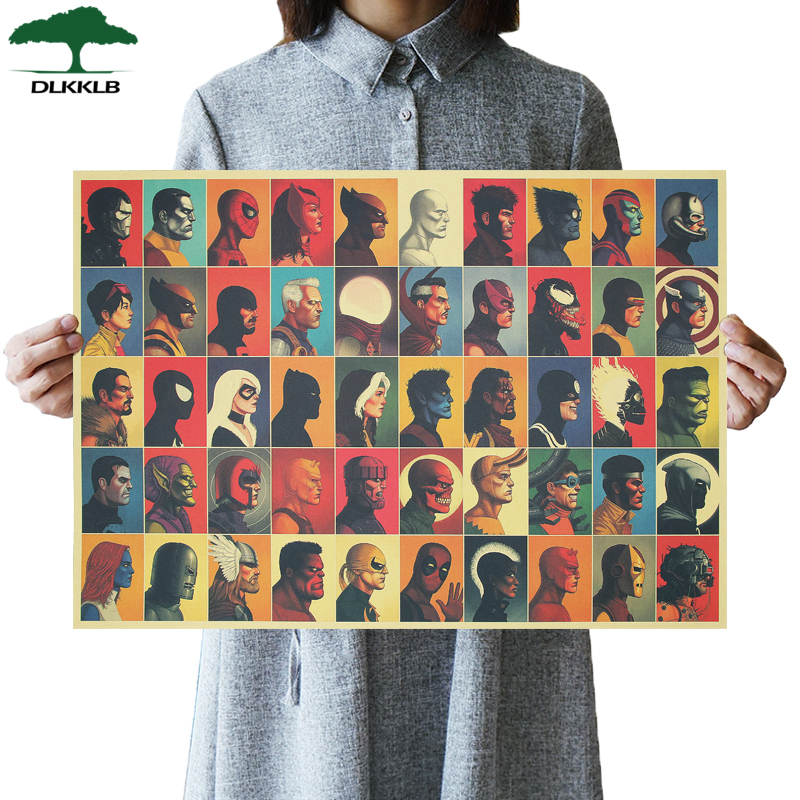 DLKKLB Marvel Universe Vintage Super Hero Atlas Avengers Movie Poster Kraft Paper Poster Theme Home Decor Painting Wall Stickers