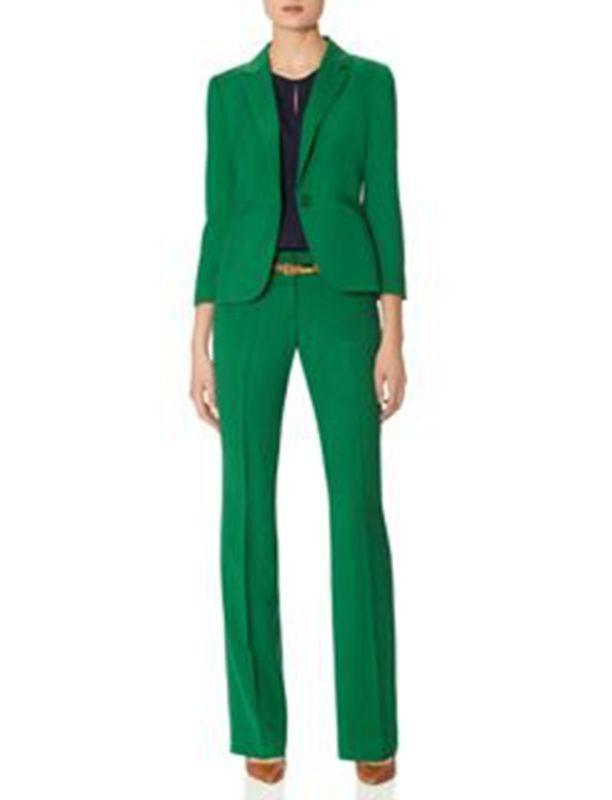 Green Women Pant Suits Ladies Business Office Formal Suits Groom Tuxedos Bespoke