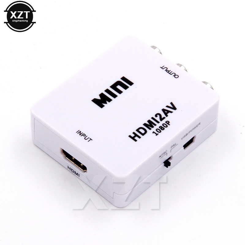 HDMI לAV Scaler מתאם HD וידאו Composite ממיר Box RCA AV/CVSB L/R וידאו 1080P מיני HDMI2AV תמיכה NTSC PAL חדש