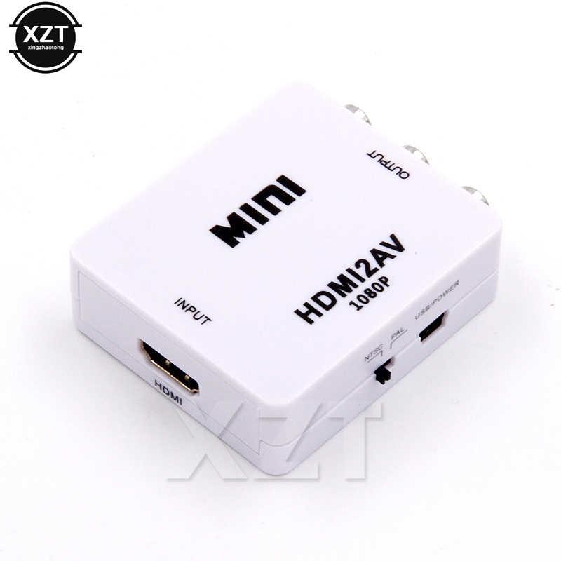 HDMI To AV Máy Adapter HD Video Composite Hộp Chuyển Đổi HDMI To RCA AV/Cvsb L/R Video 1080P Mini HDMI2AV Hỗ Trợ NTSC PAL Mới